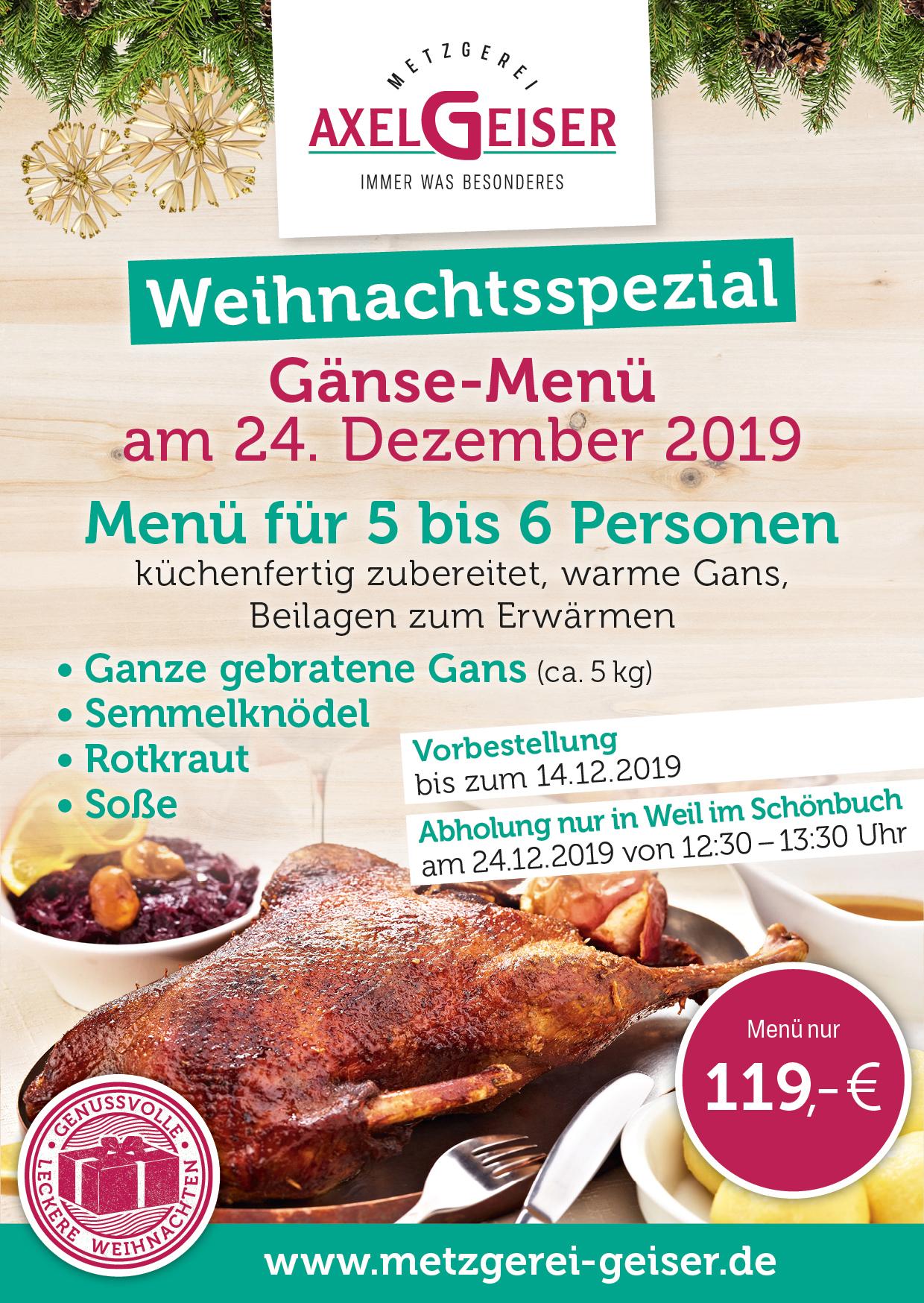 Gänse-Menü am 24.12.